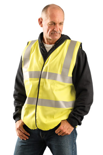 OccuNomix Class 2 Flame Resistant Cotton Dual Stripe Solid Vest, NFPA 70E/HRC = 1, ASTM F1506, Nomex Thread, D-Ring Slot, Yellow, #LUX-SSCFGFR