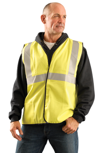 OccuNomix Class 2 Flame Resistant Cotton Single Stripe Solid Vest, NFPA 70E/HRC = 1, ASTM F1506, Nomex Thread, Yellow, #LUX-SSCGFR