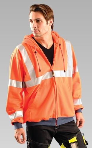 OccuNomix LUX-SWT3HZ Class 3 Hi Vis Orange Full Zip Hoodie Sweatshirt with Navy Wrists & Waistband