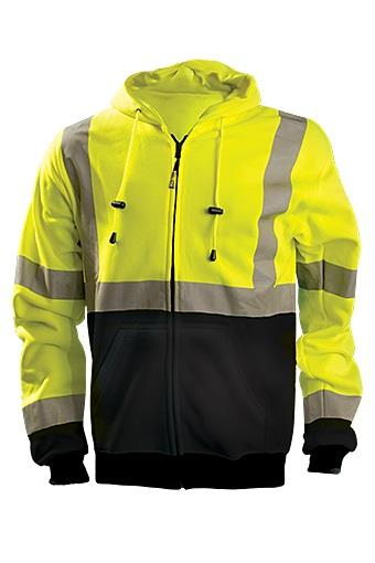 OccuNomix LUX-SWTHZBK-Y Hi Vis Hoodie Sweatshirt, ANSI Type R Class 3, 9 oz. Fleece, Hi Vis Yellow / Black Bottom
