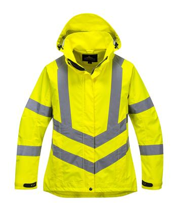 PortWest LW70 Ladies Hi Vis Breathable Jacket, Class 3 Type R, PU Coated Waterproof, Stain Resistant, Hi Vis Yellow