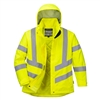 PortWest LW74 Ladies Hi Vis Winter Jacket, Class 3 Type R, Quilt Lined, PU Coated, Waterproof, Stain Resistant, Hi Vis Yellow
