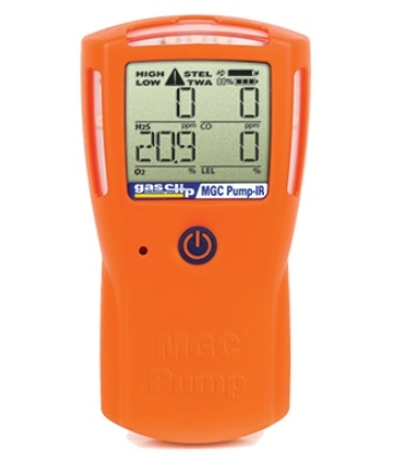 Gas Clip Technologies MGC-IR-PUMP Multi Gas Clip Pump IR 4 Gas Detector, Internal Pump & Infrared Combustible Sensor (H2S, CO, O2 & LEL)