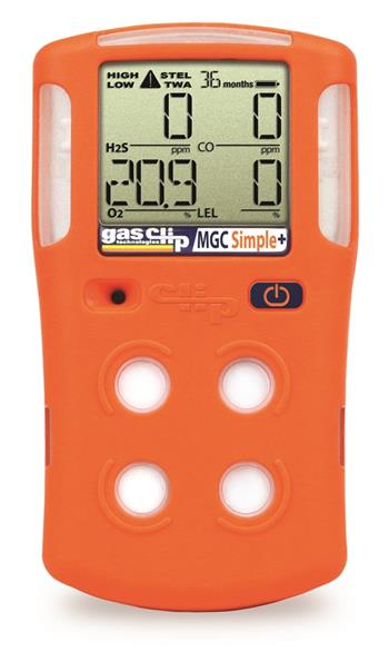 Gas Clip Technologies MGC-S-Plus Multi Gas Clip Simple Plus- 4 Gas Detector, Detects H2S, CO, O2 & Combustible Gases (LEL), 3 Year Run Time- No Charging Ever!