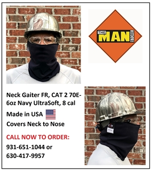Neck Gaiter - FR CAT 2 70E - 6oz Navy UltraSoft, 8 cal, Made in USA