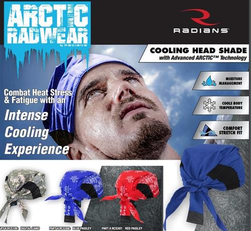 Radians Arctic Radwear Head Shades with Advanced Technology Evaporative Cooling, 4 Color Choices, Box/12