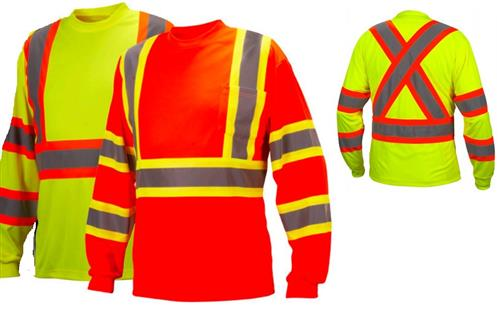 Pyramex RCLTS31 Series Hi Vis Class 3 Two-Tone Long Sleeve T-Shirt, Moisture Wicking, Chest Pocket, CSA Z96, Hi Vis Lime Green or Hi Vis Orange
