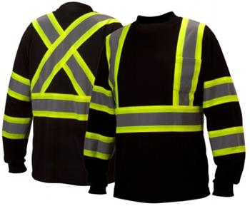 Pyramex RCLTS3111 Hi Vis Class 1 Two-Tone Long Sleeve T-Shirt, Moisture Wicking, Chest Pocket, CSA Z96 X-Back, Black