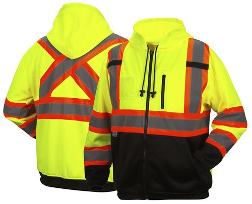 Pyramex RCSZH33 Hi Vis Type R Class 3 Two-Tone Full Zip Hooded Sweatshirt, Weatherproof, CSA Z96 X-Back, Hi Vis Lime Green. Black Bottom Front