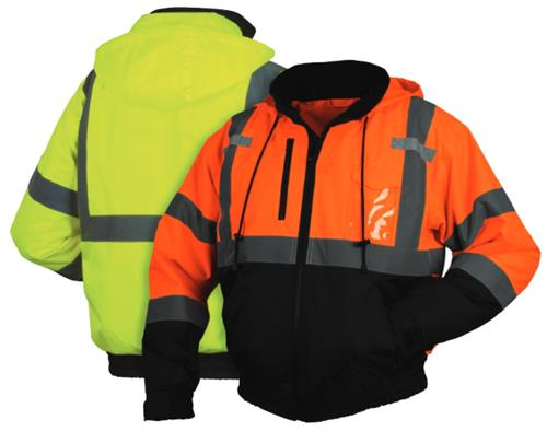 Pyramex RJ31 Series Class 3 Type R Weatherproof Bomber Jacket, Zip Out Fleece Liner, Concealed Detachable Hood, Hi Vis Lime Green & Black or Hi Vis Orange & Black