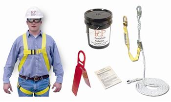 FrenchCreek RKB-1715-50 Roofer's Kit, Lightweight Full Body Harness w/ 3' Lanyard, 50' Lifeline w/ Manual Rope Grab, Reusable Anchor & Bucket