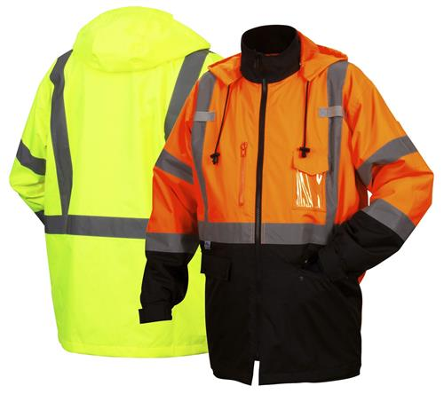 Pyramex RP31 Series Hi Vis Class 3 Type R Weatherproof Parka, Zip Out Liner, Concealed Hood, Hi Vis Orange & Black or Hi Vis Lime & Black