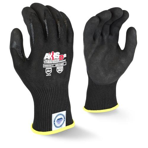 Radians RWGD108 AXIS D2™ Cut Level A4 Work Glove, Black Dyneema® Diamond Technology, 13 Gauge Shell, Double Dipped Sandy Nitrile Palm, Box/12 Pairs