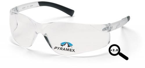 Pyramex S2510R20 Safety Glasses, Ztek Readers Eyewear Clear +2.0 Lens with Clear Frame, Qty: Box/12 prs