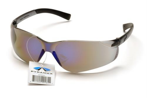 Pyramex S2575SRT Safety Glasses, Ztek Eyewear Blue Mirror Lens with Blue Mirror Frame and Retail Tag, Qty: Box/12 prs