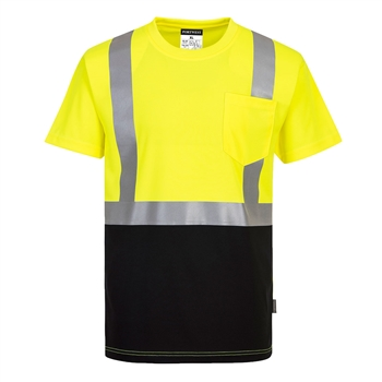 Portwest S358 Hi Vis Class 2 Nashville Wicking T-Shirt, Two-Tone Hi Vis Yellow, Black Bottom