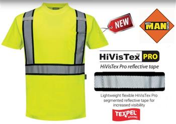 Portwest S395 Hi Vis Class 2 Detroit Short Sleeve Wicking T-Shirt, Hi Vis Yellow with HiVisTex Pro Flexible Segmented Reflective Tape