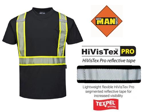 Portwest S396 Iona Xtra Short Sleeve Wicking T-Shirt, Black with HiVisTex Pro Flexible Segmented Reflective Tape
