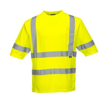 Portwest S397 Hi Vis Class 3 Mesh Panel Short Sleeve Wicking T-Shirt, Hi Vis Yellow