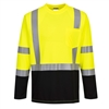 Portwest S398 Hi Vis Class 3 Laguna Long Sleeve Wicking T-Shirt, Hi Vis Yellow, Black Bottom
