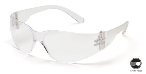 Pyramex S41110SNT Safety Glasses, Mini Intruder Eyewear Clear Anti-Fog Lens with Clear Frame, Qty: Box/12 prs