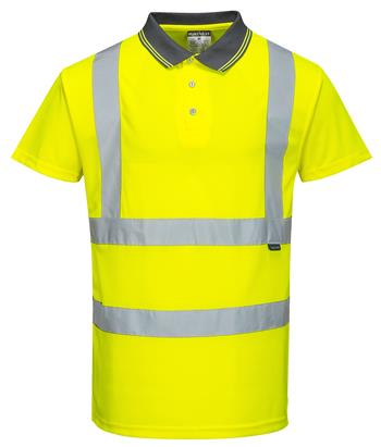 Portwest S477 Hi Vis Class 2 Short Sleeve Wicking Polo, Hi Vis Yellow