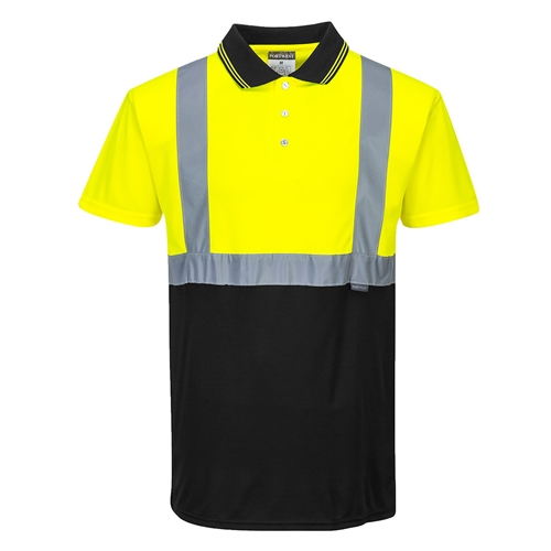 Portwest S479 Hi Vis Class 1 Short Sleeve Wicking Polo Two-Tone Hi Vis Yellow, Black Bottom