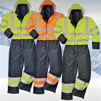 Portwest S485 Class 3 Insulated Coverall Hi Vis Yellow or Orange with Black Bottom 300 Dernier Shell