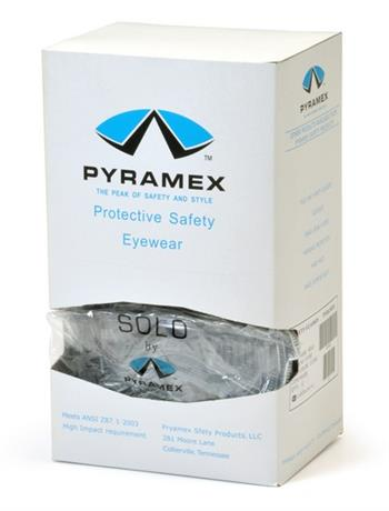 Pyramex S510SD Safety Glasses, Solo Eyewear Clear Lens/Frame Dispenser packaging 12 Glasses, Qty: Box/12 prs