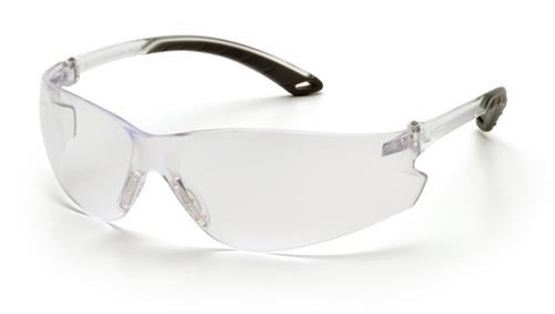 Pyramex S5810S Safety Glasses, Itek Eyewear Clear Lens with Clear Temples, Qty: Box/12 prs