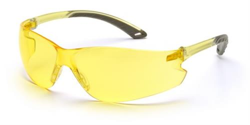 Pyramex S5830S Safety Glasses, Itek Eyewear Amber Lens with Amber Temples, Qty: Box/12 prs