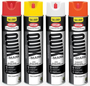 Krylon Quik-Mark TallBoy Solvent-Based Inverted Marking Paints, 25-oz. (22 oz. Net Wt), Case/ 12 Cans