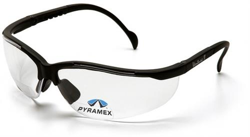 Pyramex SB1810R10 Safety Glasses, V2 Readers Eyewear Clear +1.0 Lens with Black Frame, Qty: Box/12 prs