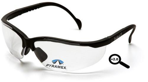 Pyramex SB1810R20 Safety Glasses, V2 Readers Eyewear Clear +2.0 Lens with Black Frame, Qty: Box/12 prs