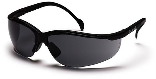 Pyramex SB1820S Safety Glasses, Venture II Eyewear Gray Lens with Black Frame, Qty: Box/12 prs