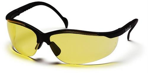 Pyramex SB1830S Safety Glasses, Venture II Eyewear Amber Lens with Black Frame, Qty: Box/12 prs