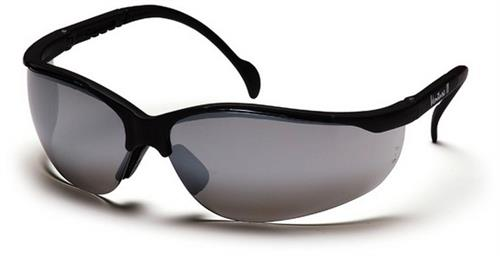 Pyramex SB1870S Safety Glasses, Venture II Eyewear Silver Mirror Lens with Black Frame, Qty: Box/12 prs