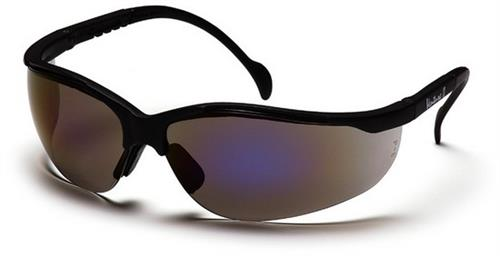 Pyramex SB1875S Safety Glasses, Venture II Eyewear Blue Mirror Lens with Black Frame, Qty: Box/12 prs
