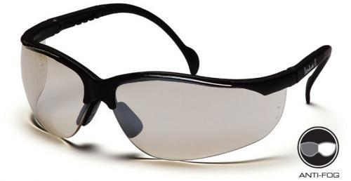 Pyramex SB1880ST Safety Glasses, Venture II Eyewear IO Mirror Anti-Fog Lens with Black Frame, Qty: Box/12 prs