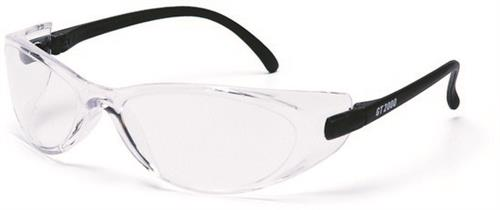 Pyramex SB2010S Safety Glasses, GT2000 Eyewear Clear Lens with Black Temples, Qty: Box/12 prs
