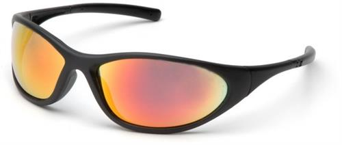 Pyramex SB3345E Safety Glasses, Zone II Eyewear Ice Orange Mirror Lens with Matte Black Frame, Qty: Box/12 prs