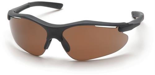 Pyramex SB3715D Safety Glasses, Fortress Eyewear Coffee Lens with Black Frame, Qty: Box/12 prs