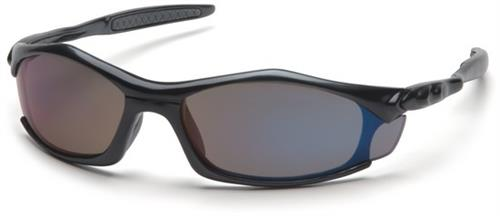 Pyramex SB4375D Safety Glasses, Solara Eyewear Blue Mirror Lens with Black Frame, Qty: Box/12 prs