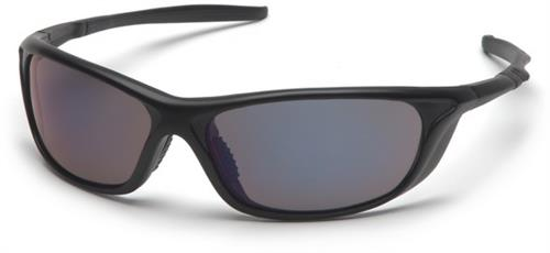 Pyramex SB4475D Safety Glasses, Azera Eyewear Blue Mirror Lens with Black Frame, Qty: Box/12 prs