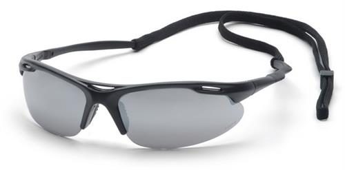 Pyramex SB4570DP Safety Glasses, Avante Eyewear Silver Mirror Lens with Black Frame and Cord , Qty: Box/12 prs