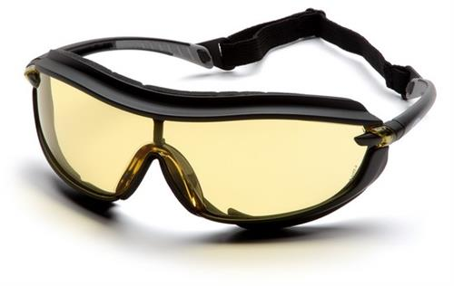 Pyramex SB4630STP Safety Glasses, XS3 Plus Amber Anti-Fog Lens with Black Frame and Cord, Qty: Box/12 prs