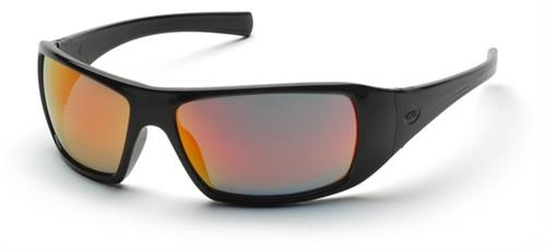 Pyramex SB5645D Safety Glasses, Goliath Eyewear Ice Orange Mirror Lens with Black Frame, Qty: Box/12 prs