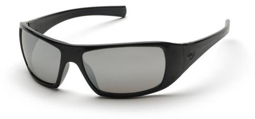Pyramex SB5670D Safety Glasses, Goliath Eyewear Silver Mirror Lens with Black Frame, Qty: Box/12 prs