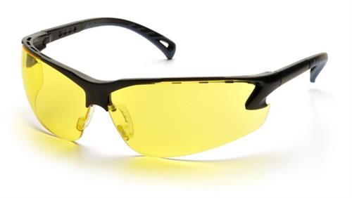 Pyramex SB5730D Safety Glasses, Venture 3 Eyewear Amber Lens with Black Frame, Qty: Box/12 prs