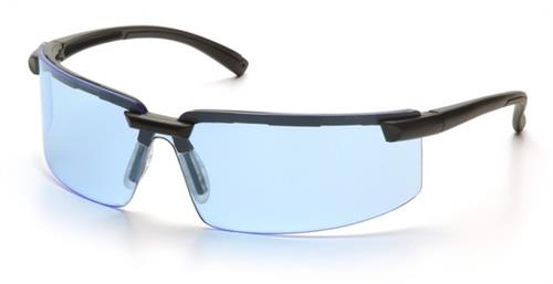 Pyramex SB6160S Safety Glasses, Surveyor Eyewear Infinity Blue Lens with Black Frame, Qty: Box/12 prs